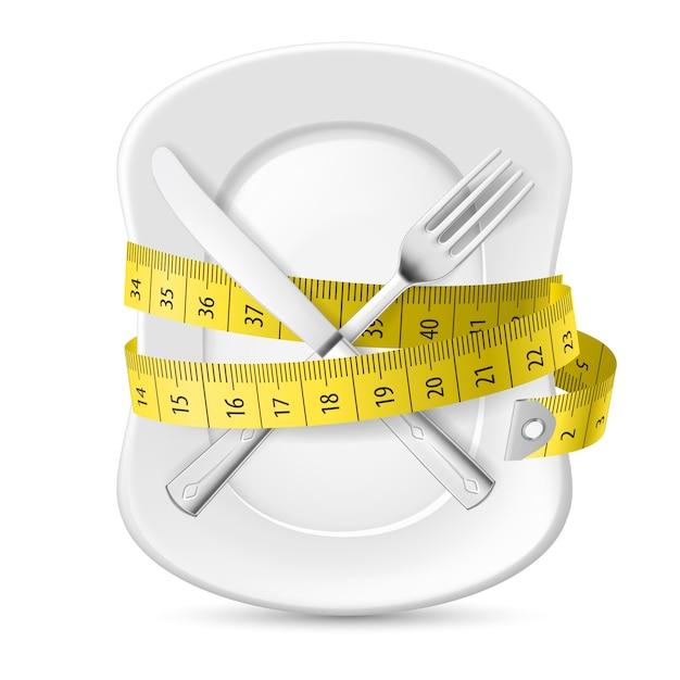 Misura gialla che circonda un piatto Vettore Premium