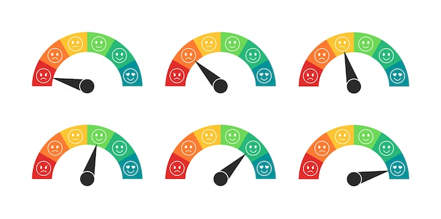 Misuratore di valutazione dell'umore in stile piatto. tachimetri con recensioni dei clienti. misuratore di soddisfazione del cliente. illustrazione. Vettore Premium