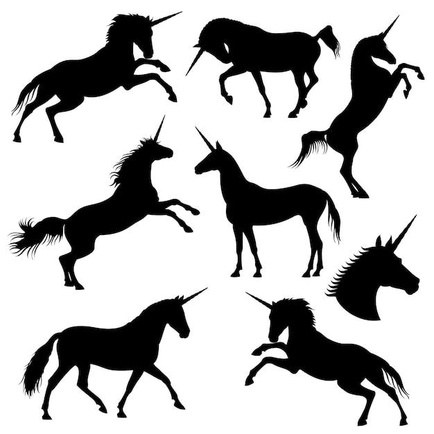 Mitiche sagome nere unicorno ribelle Vettore Premium