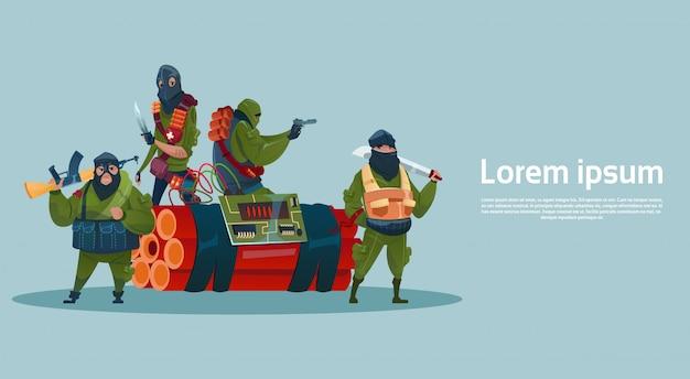 Mitragliatrice dell'arma della tenuta della maschera nera del terrorista armato del terrorismo Vettore Premium