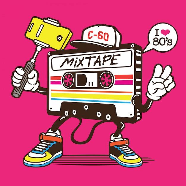 Mix tape cassette selfie character design Vettore Premium