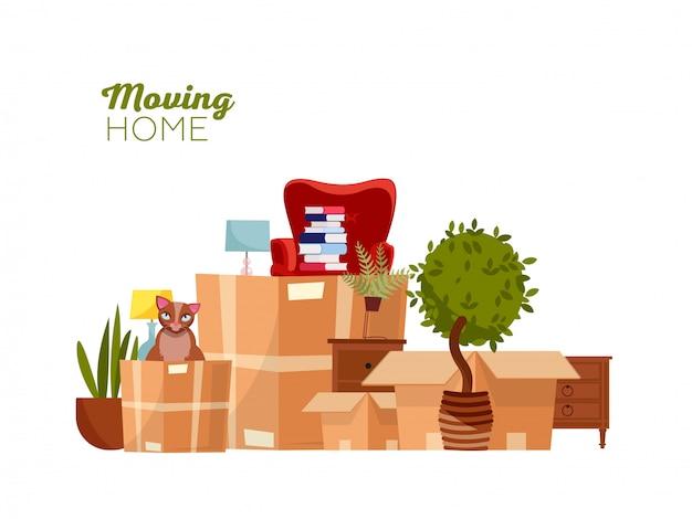 Mmoving con scatole a casa nuova Vettore Premium