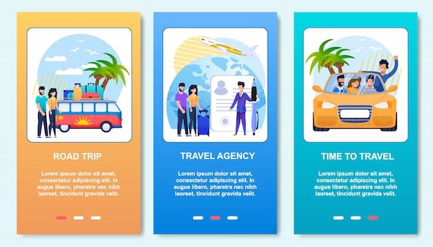 Mobile post cartoon cards set vacanze estive piatte. viaggio su strada, agenzia di viaggi e viaggio con gli amici in auto. Vettore Premium