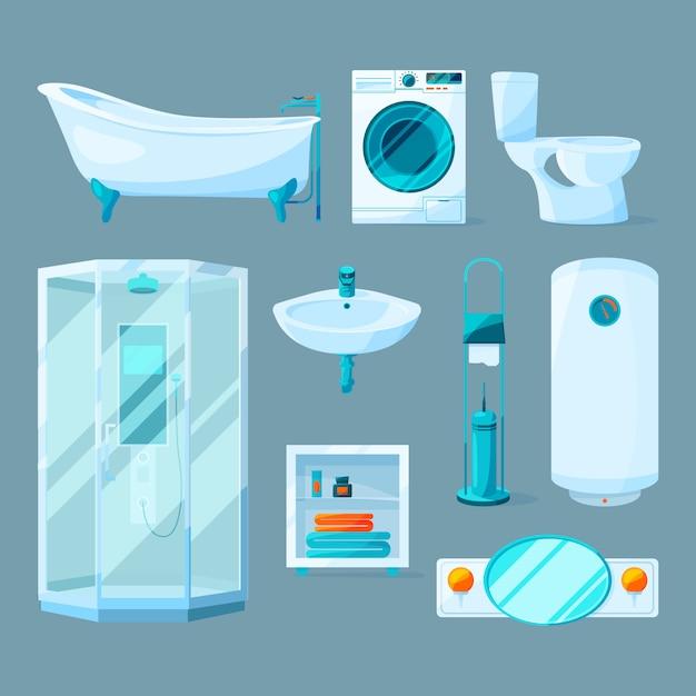 Mobili da bagno interni e attrezzature diverse. illustrazioni vettoriali in stile cartoon. Vettore Premium