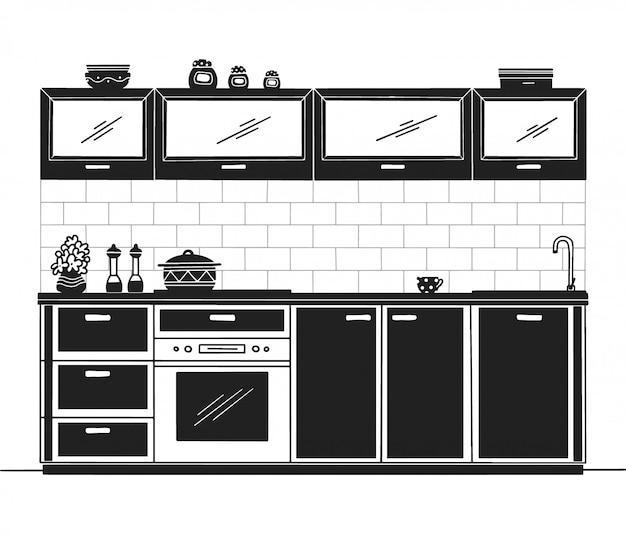Mobili da cucina disegnati a mano. illustrazione in stile schizzo Vettore Premium