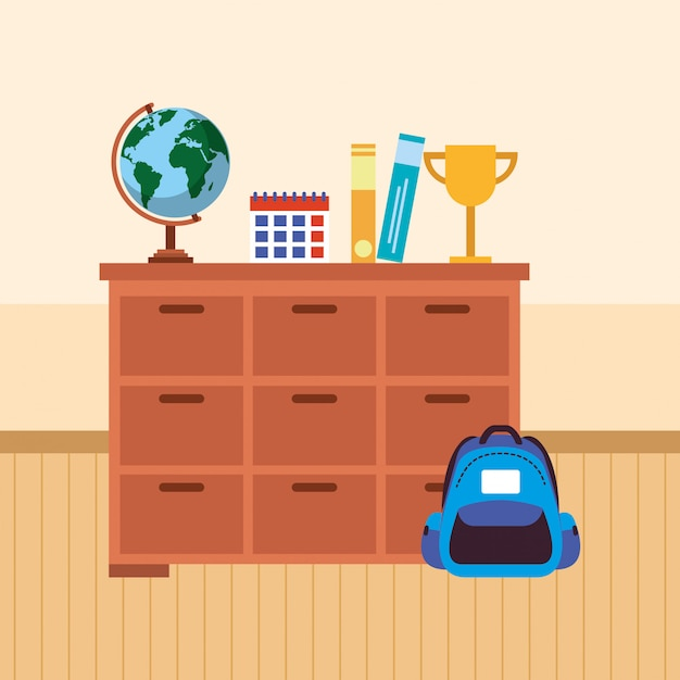 Mobili da tavola per la scuola con materiale scolastico Vettore Premium