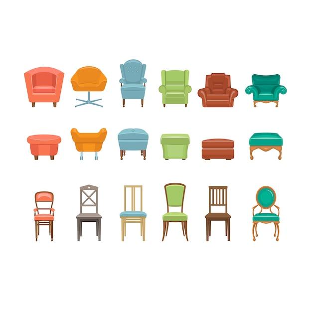 Mobili per sedersi. icone di sedie, poltrone, sgabelli. Vettore Premium