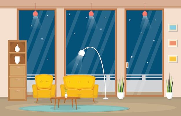 Mobilia interna di lusso dell'attico dell'appartamento dell'attico del salone Vettore Premium
