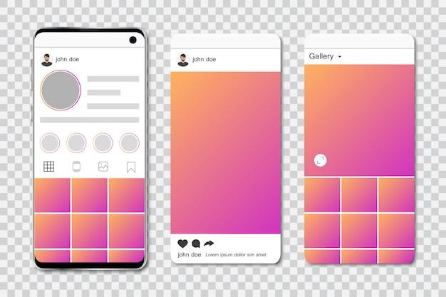 Mock up di smartphone con frame di social network. modello di social network in smartphone. set di frame di social network Vettore Premium