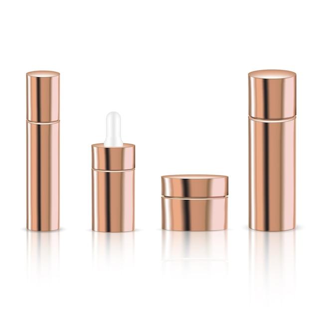 Mock up realistic rose gold pastel cosmetic bottles Vettore Premium