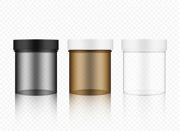 Mock up realistic transparent jar packaging Vettore Premium