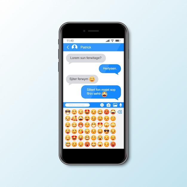 Mockup con smartphone con finestra messenger per social media Vettore Premium
