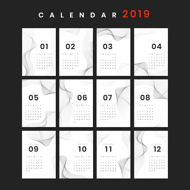 Mockup del calendario di progettazione del contorno Vettore gratuito