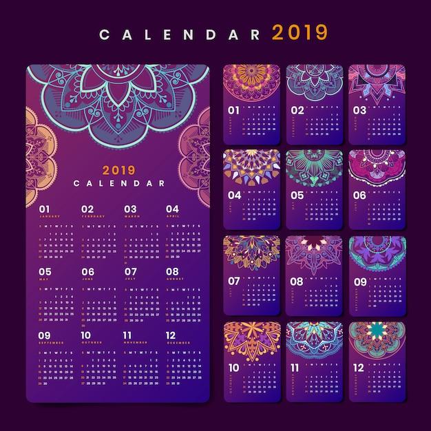 Mockup del calendario mandala Vettore gratuito