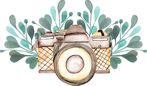 Mockup del logo con fotocamera ad acquerello e elementi floreali Vettore Premium
