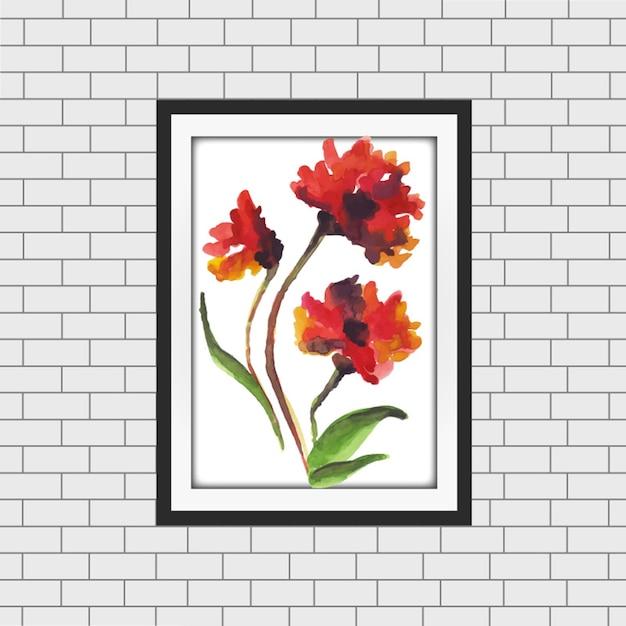 Mockup della cornice floreale dell'acquerello Vettore gratuito