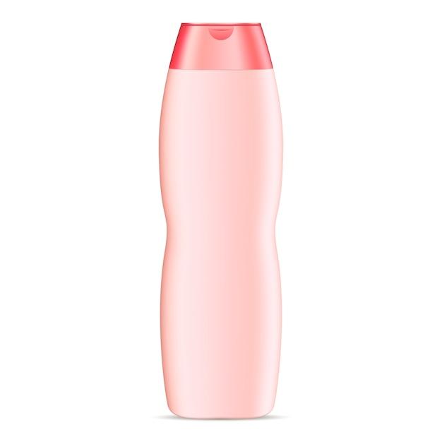 Mockup di bottiglia cosmetica di forma curva per shampoo Vettore Premium