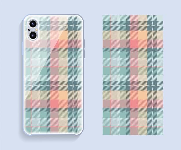 Mockup di cover design per smartphone. modello geometrico del modello per la parte posteriore del telefono cellulare. design piatto. Vettore Premium