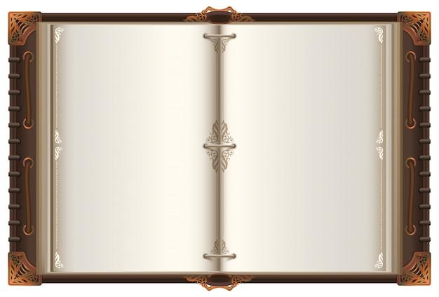 Mockup di diffusione del vecchio libro aperto dell'annata con pagine bianche Vettore Premium