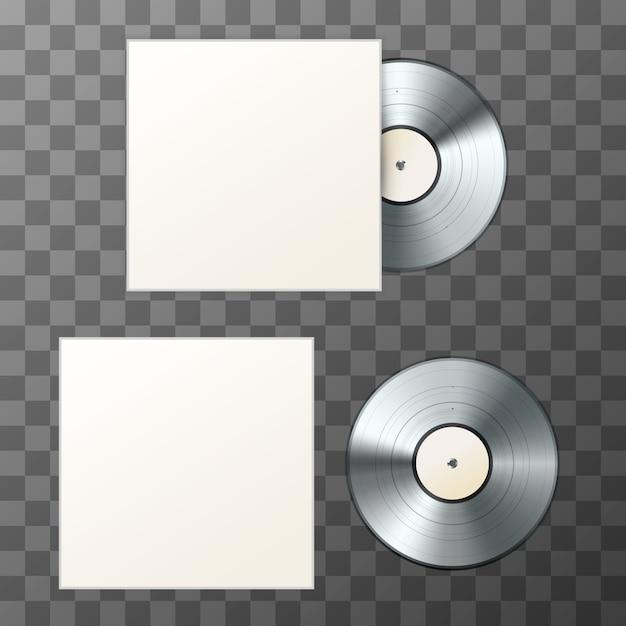 Mockup di disco in vinile bianco platino con copertina Vettore Premium