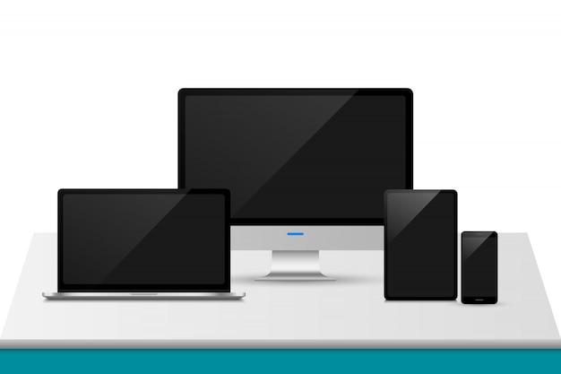 Mockup di dispositivi di visualizzazione reattiva Vettore Premium