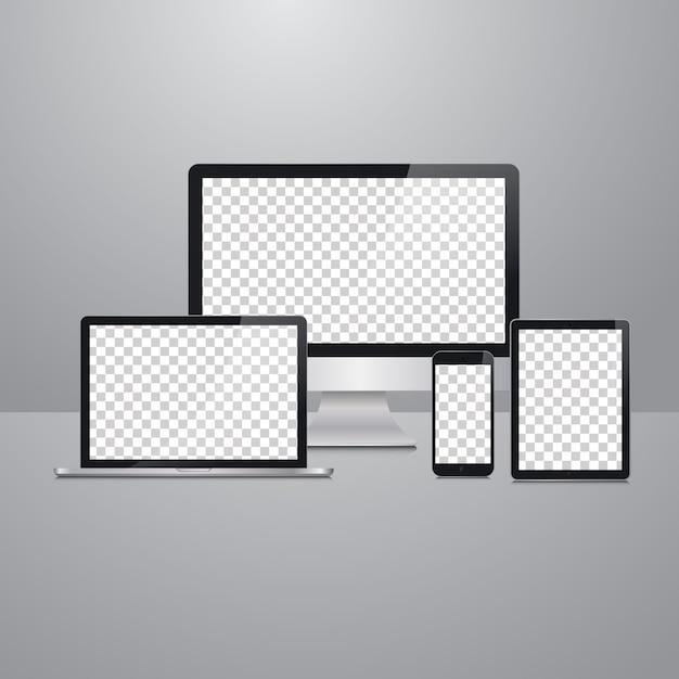 Mockup di dispositivi vettoriali Vettore Premium