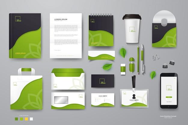 Mockup di identità aziendale verde Vettore Premium