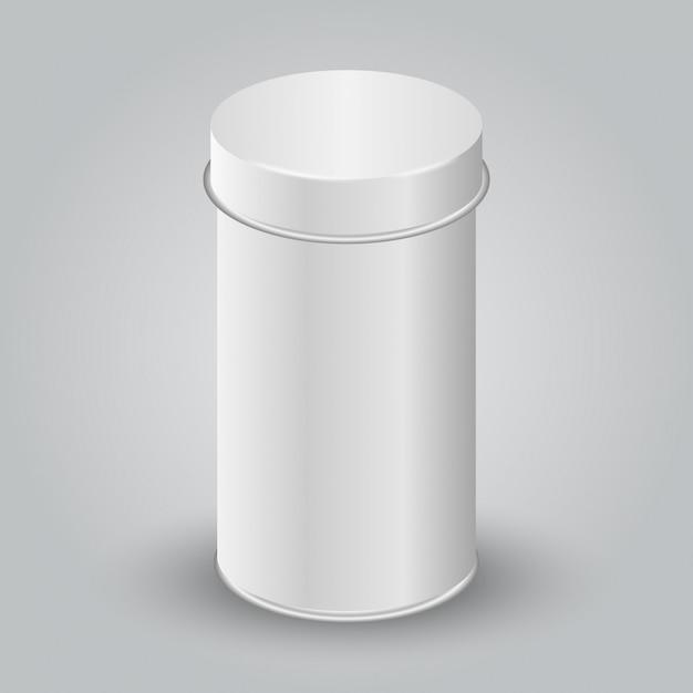 Mockup di imballaggio bianco vuoto tincan. tè, caffè, prodotti secchi, confezione regalo. Vettore Premium