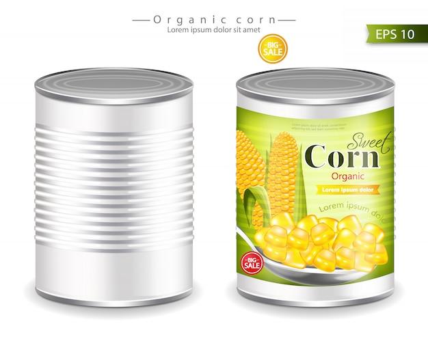 Mockup di mais in scatola metallico Vettore Premium