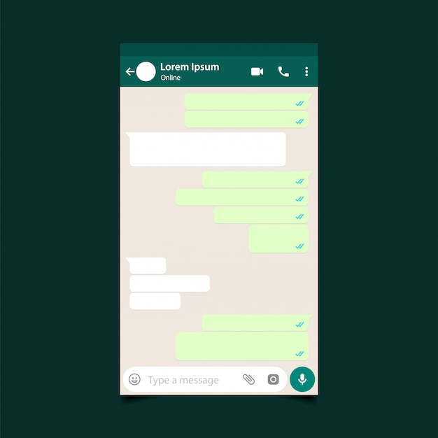 Mockup di messaggistica mobile. post della rete sociale Vettore Premium