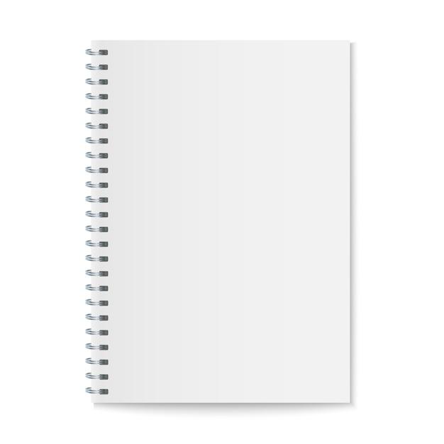 Mockup di notebook spirale realistico, copertina di quaderno modello. Vettore Premium