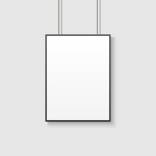 Mockup di poster bianco sul muro grigio Vettore Premium