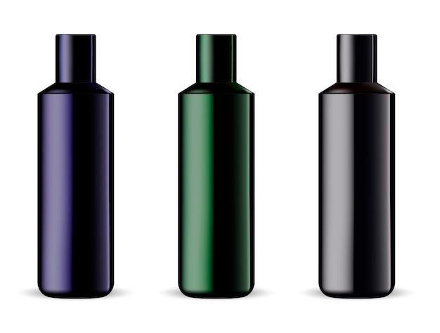 Mockup di prodotti cosmetici per shampoo o gel doccia Vettore Premium