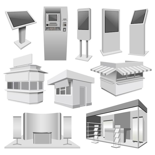Mockup di stand per chiosco stand stand Vettore Premium