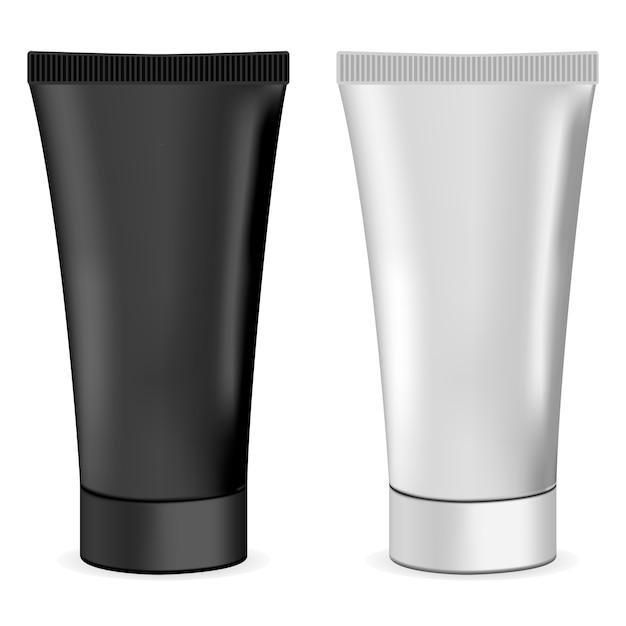 Mockup di tubo crema realistico 3d di plastica o metallo. Vettore Premium