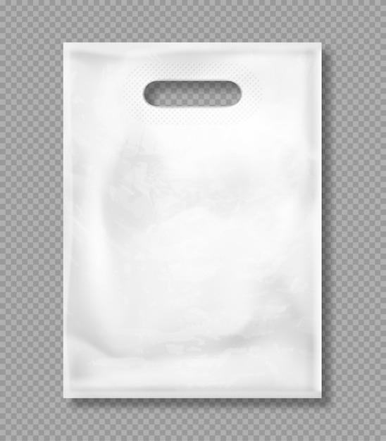 Mockup di vettore del sacchetto di plastica bianco Vettore gratuito