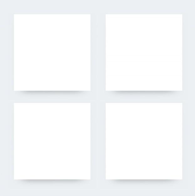 Mockup di volantini quadrati bianchi. illustrazione vettoriale di cartellonistica design per la promozione. mockup realistico di white paper Vettore Premium