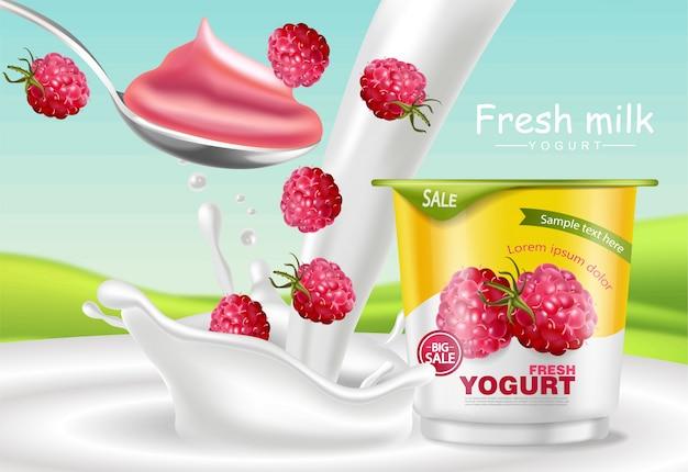 Mockup di yogurt al lampone Vettore Premium