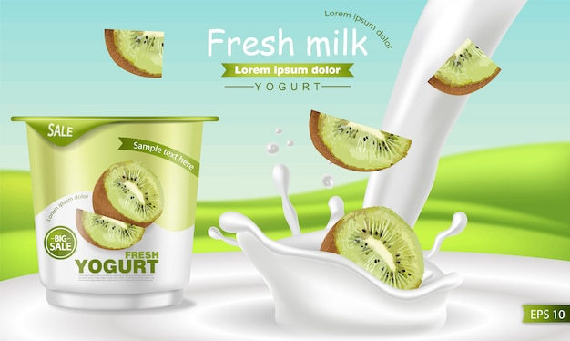 Mockup di yogurt kiwi realistico Vettore Premium
