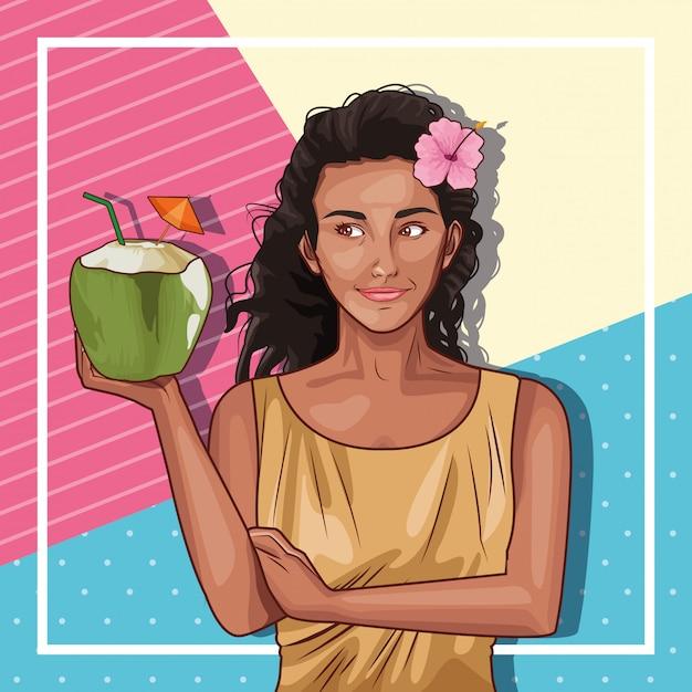 Moda pop art e bella donna fumetto Vettore gratuito