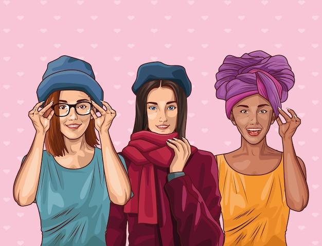 Moda pop art e belle donne dei cartoni animati Vettore Premium