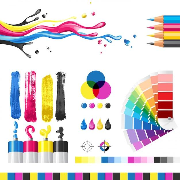 Modalità colore cmyk Vettore Premium