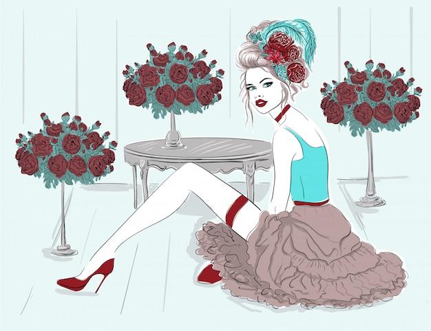 Modella nella stanza dei fiori Vettore Premium