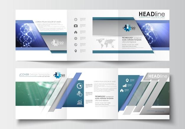 Modelli aziendali per brochure tri-fold. struttura della molecola del dna, fondo di scienza Vettore Premium