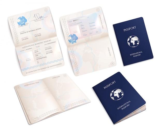 Modelli biometrici di passaporto internazionale in forma realistica insieme di forme aperte e chiuse isolato Vettore gratuito