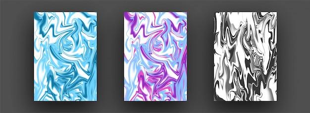 Modelli creativi fluidi misti astratti, carte, set di copertine colorate Vettore Premium