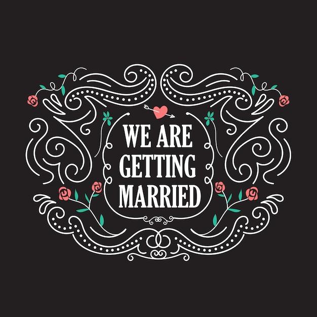 Modelli dell'invito di nozze con il vettore del telaio dell'annata del fiore Vettore Premium