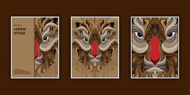 Modelli di banner con testa di tigre Vettore Premium