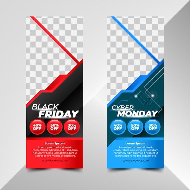 Modelli di banner di black friday e cyber monday sale Vettore Premium