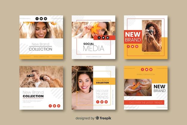Modelli di banner di moda per i social media Vettore gratuito